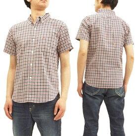 フェローズ 18S-PBDS4 ボタンダウンシャツ ミニチェック Pherrow's Pherrows メンズ 半袖シャツ オフ/紺 新品