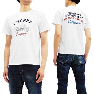 페로즈 18 S-PT20 T셔츠 오토바이무늬 Pherrow's Pherrows 맨즈 반소매 tee 화이트 신품