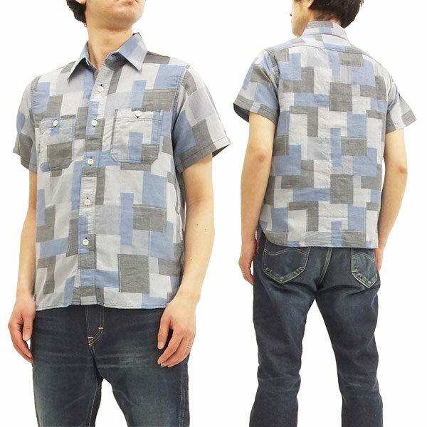 シュガーケーン SC37925 ワークシャツ パッチワーク風ジャガードチェック メンズ 半袖シャツ #125ブルー 新品