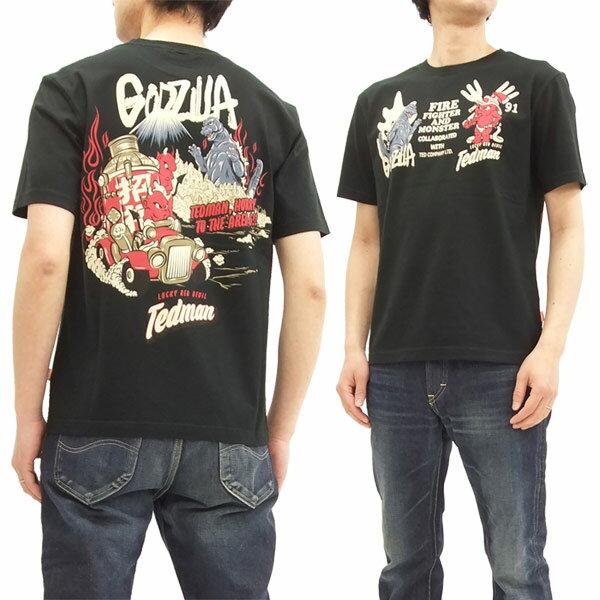 テッドマン ゴジラ Tシャツ TDGZ-100 Tedman x Godzilla エフ商会 メンズ 半袖tee ブラック 新品