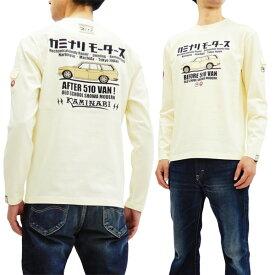カミナリ KMLT-176 長袖Tシャツ 510バン 旧車柄 エフ商会 雷 メンズ ロンtee オフ白 新品