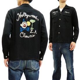 スタイルアイズ SE27974 刺繍 ボウリングシャツ 東洋 メンズ 長袖 ボーリングシャツ ブラック 新品