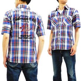 テッドマン TCHS-200 チェック半袖シャツ TEDMAN 刺繍カスタム メンズ 半袖シャツ ブルー 新品