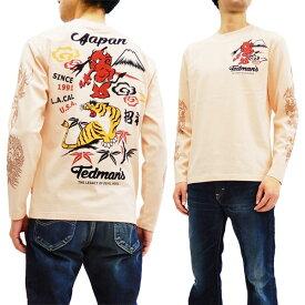 テッドマン TDLS-322 長袖Tシャツ TEDMAN 鬼VS虎 エフ商会 メンズ ロンtee ピンク 新品