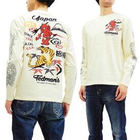 テッドマン TDLS-322 長袖Tシャツ TEDMAN 鬼VS虎 エフ商会 メンズ ロンtee オフ白 新品