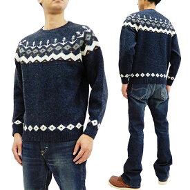 フェローズ セーター 18W-PSFS1 Pherrow's メンズ 雪柄 アンカーマーク ウールニット ネイビー 新品