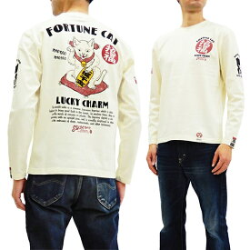 粋狂 SYLT-186 長袖Tシャツ 浮世絵 招き猫 エフ商会 和柄 メンズ ロンtee オフ白 新品