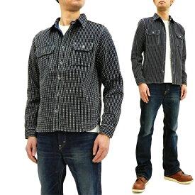 サムライジーンズ SSS18-SK01 刺し子ワークシャツ Samurai Jeans メンズ 長袖シャツ インディゴ×ホワイト 新品