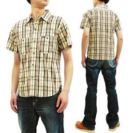 フェローズ 19S-720WSS-CH プリントチェック 半袖シャツ Pherrow's Pherrows メンズ 薄手 ワークシャツ 生成×ブラック 新品