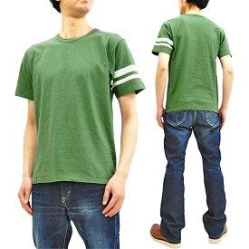桃太郎ジーンズ Tシャツ MT302S 製品染め ジンバブエコットン 左袖出陣ライン メンズ 半袖Tee OD 新品
