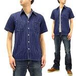 シュガーケーンSC36267Aウォバッシュストライプワークシャツ東洋メンズ半袖シャツ421Aネイビー新品SugarCaneMen'sIndigoWabashStripeWorkShirtShortSleeveShirtSC36267A