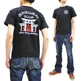 サムライジーンズ Tシャツ SCT19-101 侍倶楽部 鳥居柄 Samurai Jeans メンズ 和柄 半袖tee ブラック 新品