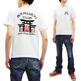 サムライジーンズ Tシャツ SCT19-101 侍倶楽部 鳥居柄 Samurai Jeans メンズ 和柄 半袖tee ホワイト 新品
