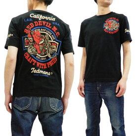 テッドマン Tシャツ TDSS-492 TEDMAN Red Devil M.C. バイク柄 エフ商会 メンズ 半袖tee ブラック 新品