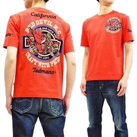 テッドマン Tシャツ TDSS-492 TEDMAN Red Devil M.C. バイク柄 エフ商会 メンズ 半袖tee レッド 新品