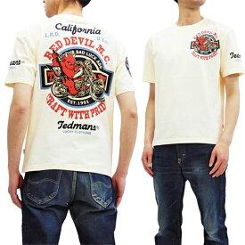 テッドマン Tシャツ TDSS-492 TEDMAN Red Devil M.C. バイク柄 エフ商会 メンズ 半袖tee オフ白 新品