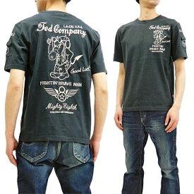 テッドマン 刺繍 Tシャツ TDSS-497 TEDMAN 第8空軍パイロット柄 エフ商会 メンズ 半袖tee ネイビー 新品