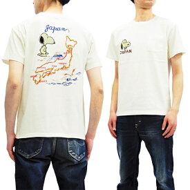 テーラー東洋 Tシャツ TT78242 スヌーピー x ジャパンマップ 刺繍 スカT メンズ 半袖Tee オフ白 新品