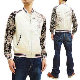 ジャパネスク スカジャン 3RSJ-301 袖縮緬 桜柄 メンズ 和柄 スーベニアジャケット オフ 新品