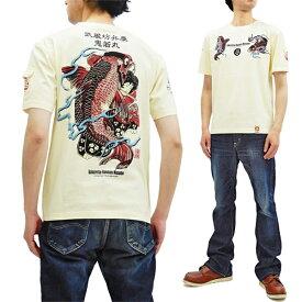 爆烈爛漫娘 Tシャツ RMT-291 西塔鬼若丸の鯉退治 エフ商会 メンズ 和柄 半袖tee オフ白 新品