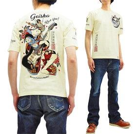 爆烈爛漫娘 Tシャツ RMT-292 芸者×ギター エフ商会 メンズ 和柄 半袖tee オフ白 新品
