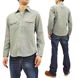 シュガーケーン SC27853 ヒッコリーストライプ ワークシャツ Sugar Cane メンズ 長袖シャツ 105オフ白 新品