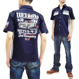 テッドマン カミナリ ワークシャツ TDKMS-02 TEDMAN x 雷 エフ商会 メンズ 半袖シャツ ネイビー 新品
