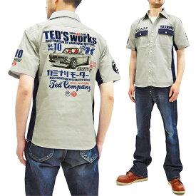 テッドマン カミナリ ワークシャツ TDKMS-02 TEDMAN x 雷 エフ商会 メンズ 半袖シャツ グレー 新品