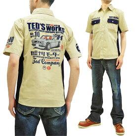テッドマン カミナリ ワークシャツ TDKMS-02 TEDMAN x 雷 エフ商会 メンズ 半袖シャツ ベージュ 新品