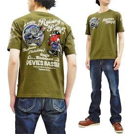 テッドマン Tシャツ TDSS-502 TEDMAN テドン バス釣り柄 エフ商会 メンズ 半袖tee カーキ 新品