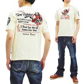 テッドマン Tシャツ TDSS-503 TEDMAN ファイヤーマン 消防士柄 エフ商会 メンズ 半袖tee オフ白 新品