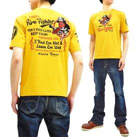 テッドマン Tシャツ TDSS-503 TEDMAN ファイヤーマン 消防士柄 エフ商会 メンズ 半袖tee イエロー 新品