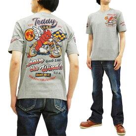 テッドマン Tシャツ TDSS-504 TEDMAN レーサーバイク柄 エフ商会 メンズ 半袖tee アッシュグレー 新品
