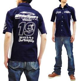 テッドマン ワークシャツ WEDSTCS-600 WedsSport カミナリ コラボ エフ商会 メンズ 半袖シャツ ネイビー 新品