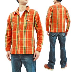 フェローズ 19W-720WS チェック ネルシャツ Pherrow's Pherrows メンズ ワークシャツ 長袖シャツ オレンジ 新品
