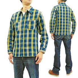 フェローズ 19W-720WS チェック ネルシャツ Pherrow's Pherrows メンズ ワークシャツ 長袖シャツ ネイビー/イエロー 新品