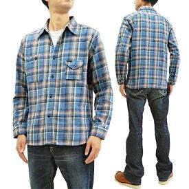 フェローズ 19W-750WS-C チェック ネルシャツ Pherrow's Pherrows メンズ ワークシャツ 長袖シャツ サックス 新品