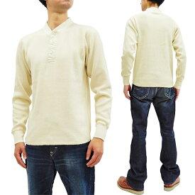 バズリクソンズ BR68130 サーマル ヘンリーネック 長袖Tシャツ 無地 メンズ ワッフル ロンtee ナチュラル 新品