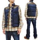 シュガーケーン SC12340 レザーヨーク ダウンベスト 東洋エンタープライズ Sugar Cane メンズ 冬用Vest ネイビー 新品