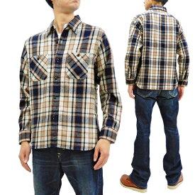 シュガーケーン SC28237 ツイルチェック ワークシャツ 東洋 メンズ 長袖シャツ ネルシャツ 105オフ白 新品