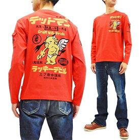 テッドマン 長袖Tシャツ TDLS-329 TEDMAN 幸運の赤鬼 エフ商会 メンズ ロンtee レッド 新品