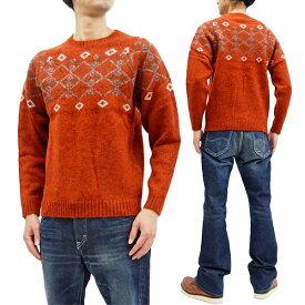 フェローズ セーター 19W-PSFS1 Pherrow's Pherrows メンズ 雪柄 スノーパターン ウールニット オレンジ 新品