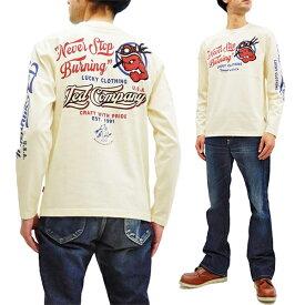 テッドマン 長袖Tシャツ TDLS-334 TEDMAN ファイヤーマン 消防士柄 エフ商会 メンズ ロンtee オフ白 新品