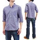 フェローズ 7分袖シャツ 20S-P7BD1 メンズ 綿リネン 無地 七分袖 ボタンダウンシャツ P7BD1 パープル 新品