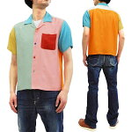 スタイルアイズボウリングシャツSE38369東洋メンズ半袖クレイジーパターンボーリングシャツ新品StyleEyesMixedPanelBowlingShirtMen's1950sStyleRayonShortSleeveShirtSE38369