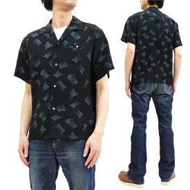 スター・オブ・ハリウッド SH38385 オープンシャツ 1950s Swaying Dots 東洋 メンズ 半袖シャツ ブラック 新品
