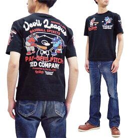 テッドマン Tシャツ TDSS-510 TEDMAN ベースボール 野球柄 エフ商会 メンズ 半袖tee ブラック 新品