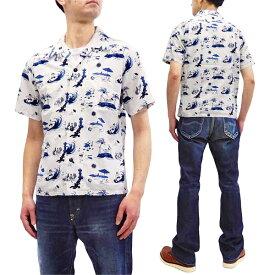 桃太郎ジーンズ アロハシャツ 06-091 メンズ 綿レーヨン ハワイアンシャツ 半袖シャツ ホワイト 新品