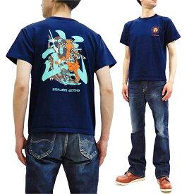 サムライジーンズ Tシャツ SJST20-102 和柄 武者絵 Samurai Jeans メンズ 半袖tee ネイビー 新品