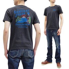 サムライジーンズ Tシャツ SJST20-108 和柄 芸者 x 富士山 メンズ 半袖tee スミクロ 新品
